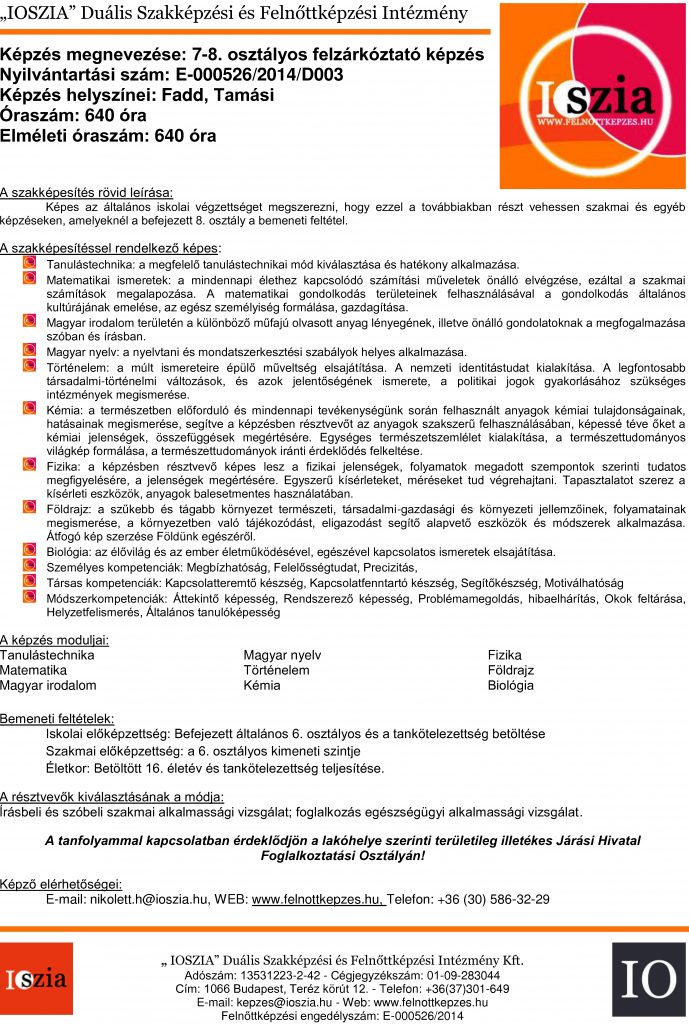 7-8. osztályos felzárkóztató - Fadd - Tamási - felnottkepzes.hu - Felnőttképzés - IOSZIA