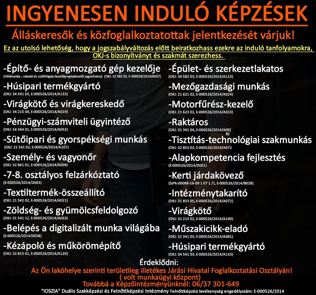 Bács-Kiskun megye - Ingyenes képzések - Felnőttképzés - felnottkepzes.hu - IOSZIA