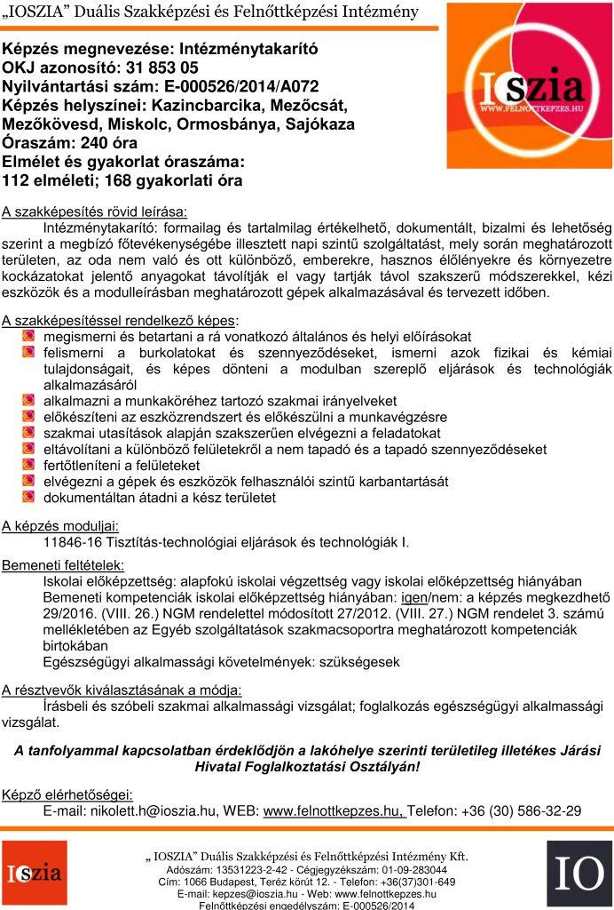 Intézménytakarító OKJ - Miskolc - Mezőkövesd - Kazincbarcika - Mezőcsát - Ormosbámya - Sajókaza - felnottkepzes.hu - Felnőttképzés - IOSZIA