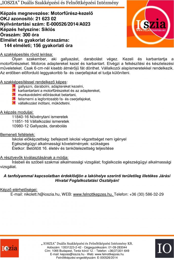 Motorfűrész-kezelő OKJ - Siklós - felnottkepzes.hu - Felnőttképzés - IOSZIA