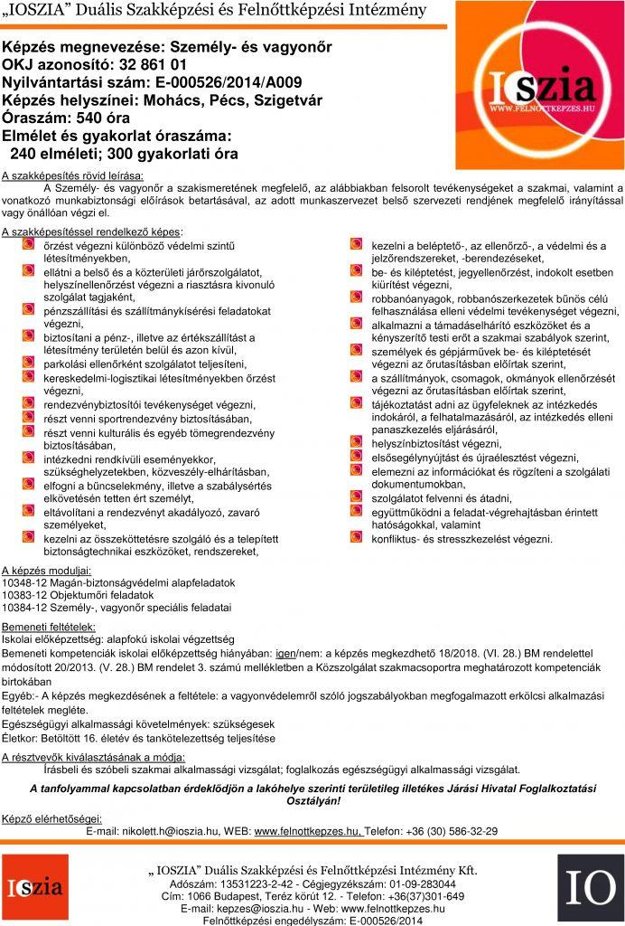 Személy- és vagyonőr OKJ - Mohács - Pécs - Szigetvár - felnottkepzes.hu - Felnőttképzés - IOSZIA